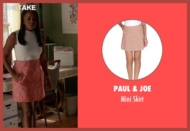 Paul & Joe red skirt from How To Get Away With Murder seen with Michaela Pratt (Aja Naomi King)