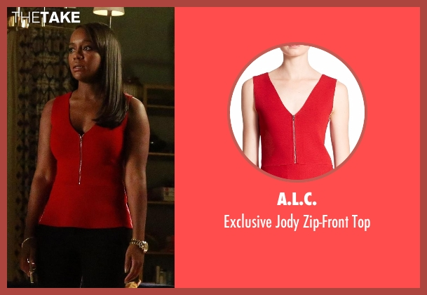 A.L.C. red top from How To Get Away With Murder seen with Michaela Pratt (Aja Naomi King)