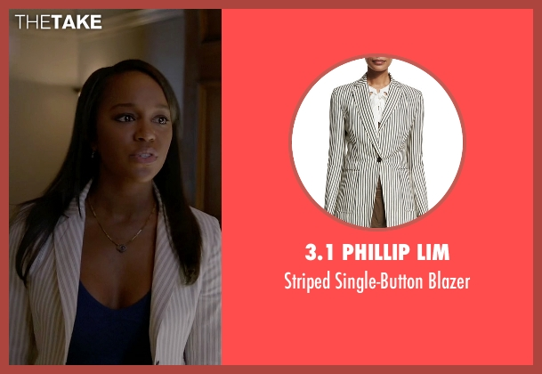 3.1 Phillip Lim white blazer from How To Get Away With Murder seen with Michaela Pratt (Aja Naomi King)