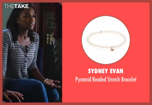 Sydney Evan white bracelet from How To Get Away With Murder seen with Michaela Pratt (Aja Naomi King)