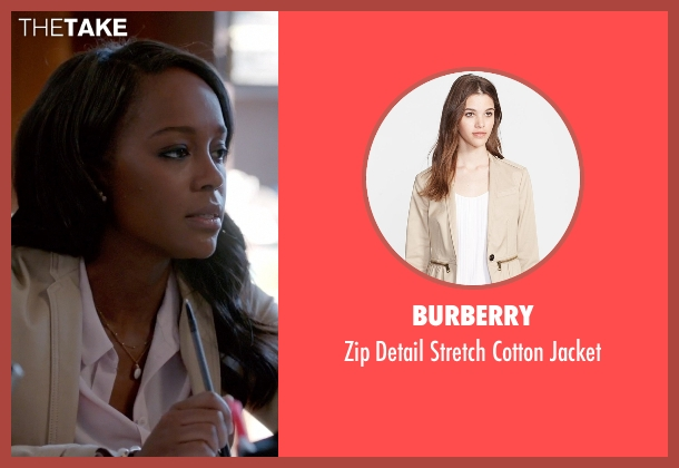 Burberry white jacket from How To Get Away With Murder seen with Michaela Pratt (Aja Naomi King)