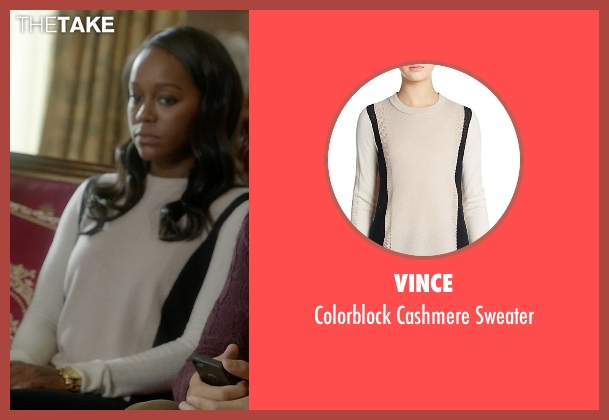 Vince white sweater from How To Get Away With Murder seen with Michaela Pratt (Aja Naomi King)