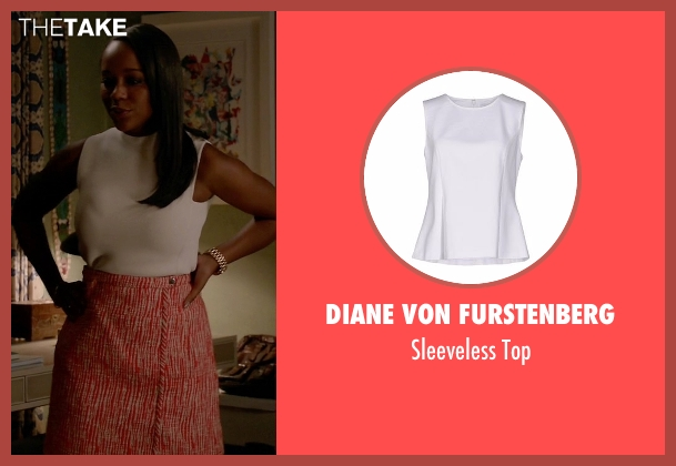 Diane Von Furstenberg white top from How To Get Away With Murder seen with Michaela Pratt (Aja Naomi King)