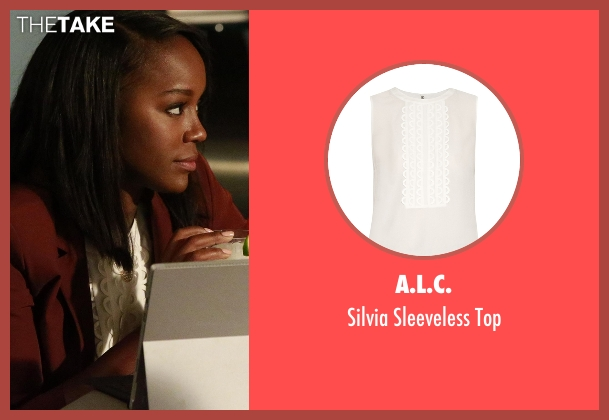 A.L.C. white top from How To Get Away With Murder seen with Michaela Pratt (Aja Naomi King)