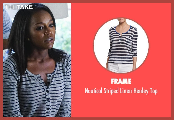 FRAME  white top from How To Get Away With Murder seen with Michaela Pratt (Aja Naomi King)