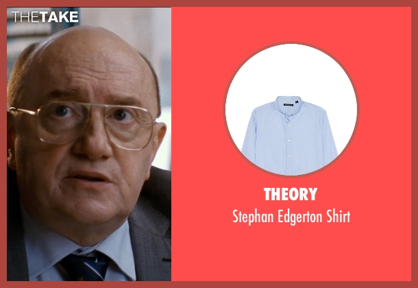Theory blue shirt from The Hundred-Foot Journey seen with Michel Blanc (The Mayor)