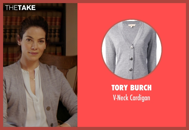 Tory Burch gray cardigan from The Best of Me seen with Michelle Monaghan (Amanda Collier)