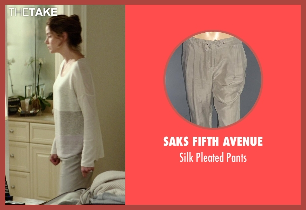 Saks Fifth Avenue gray pants from The Best of Me seen with Michelle Monaghan (Amanda Collier)