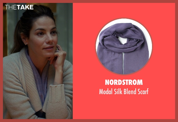 Nordstrom purple scarf from The Best of Me seen with Michelle Monaghan (Amanda Collier)