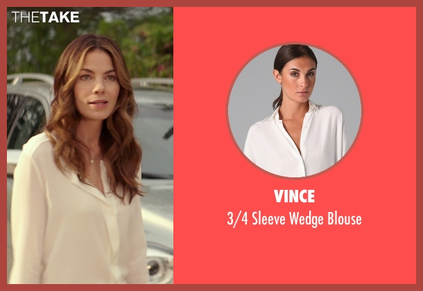 Vince white blouse from The Best of Me seen with Michelle Monaghan (Amanda Collier)