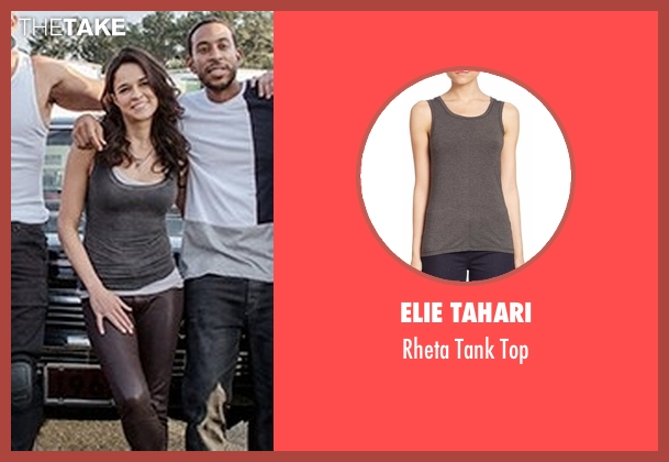 Elie Tahari gray top from Fast 8 seen with Michelle Rodriguez (Letty Ortiz)