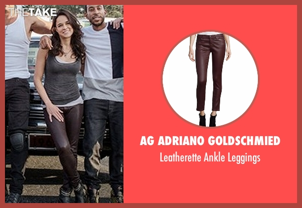 AG Adriano Goldschmied  red leggings from Fast 8 seen with Michelle Rodriguez (Letty Ortiz)