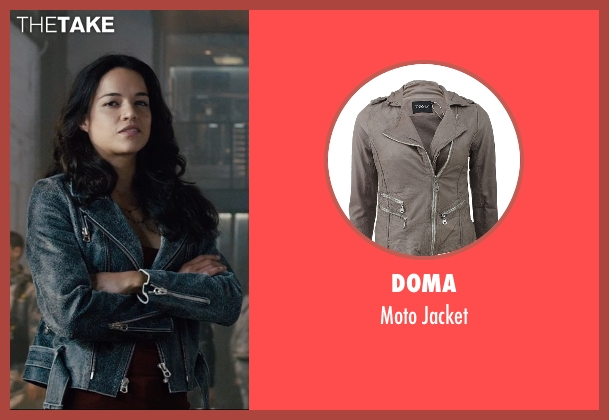 Doma gray jacket from Furious 7 seen with Michelle Rodriguez (Letty Ortiz)