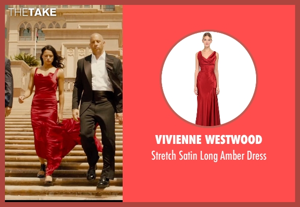 Vivienne Westwood red dress from Furious 7 seen with Michelle Rodriguez (Letty Ortiz)