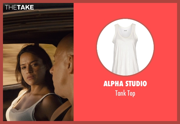 Alpha Studio white top from Furious 7 seen with Michelle Rodriguez (Letty Ortiz)