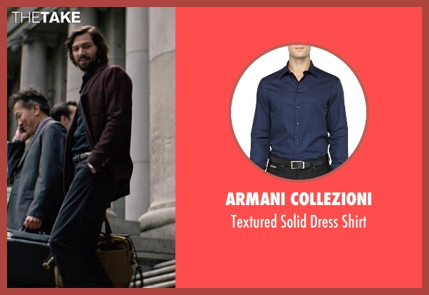 Armani Collezioni blue shirt from The Age of Adaline seen with Michiel Huisman (Ellis)