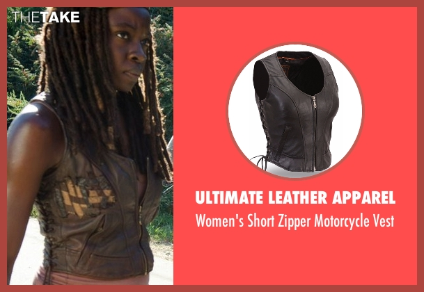 Ultimate Leather Apparel black vest from The Walking Dead seen with Michonne (Danai Gurira)