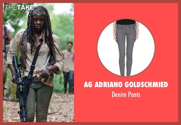 AG Adriano Goldschmied gray pants from The Walking Dead seen with Michonne (Danai Gurira)