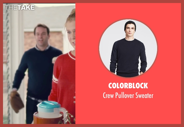 Colorblock blue sweater from Trainwreck seen with Mike Birbiglia (Tom)