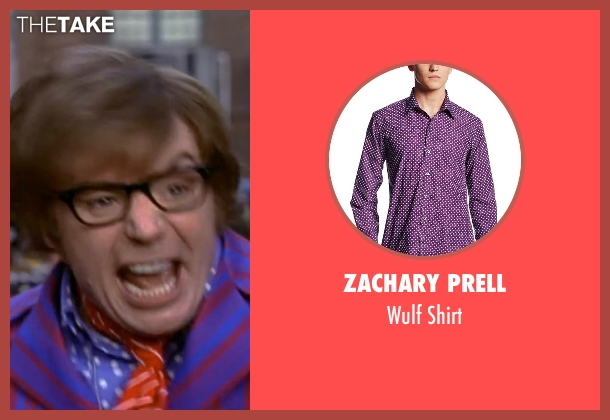 Zachary Prell purple shirt from Austin Powers in Goldmember seen with Mike Myers (Austin Powers)