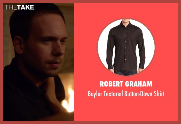 Robert Graham black shirt from Suits seen with Mike Ross (Patrick J. Adams)