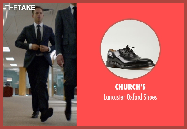 Church's black shoes from Suits seen with Mike Ross (Patrick J. Adams)