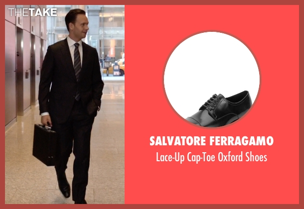 Salvatore Ferragamo black shoes from Suits seen with Mike Ross (Patrick J. Adams)