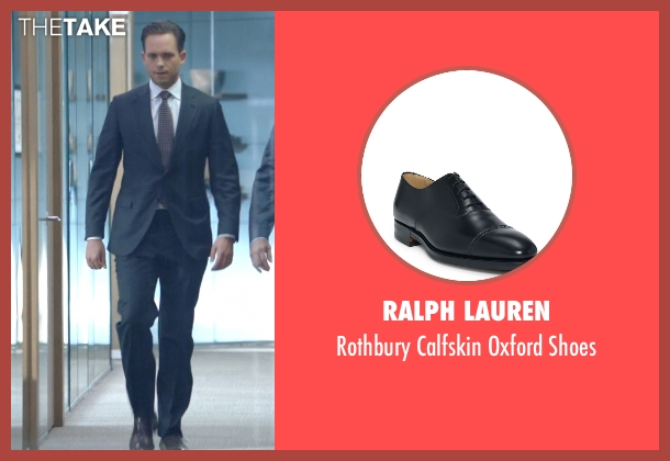 Ralph Lauren black shoes from Suits seen with Mike Ross (Patrick J. Adams)