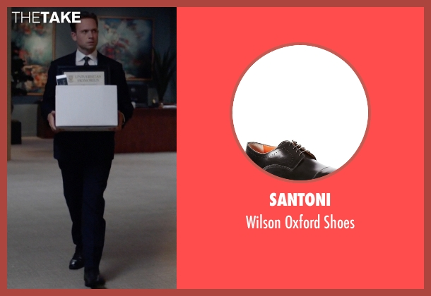 Santoni black shoes from Suits seen with Mike Ross (Patrick J. Adams)