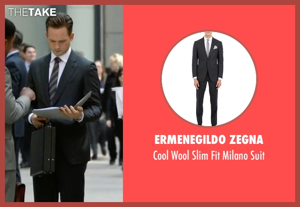 Ermenegildo Zegna black suit from Suits seen with Mike Ross (Patrick J. Adams)