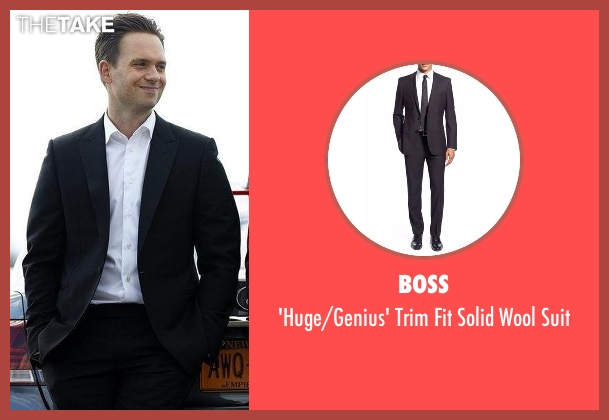 Boss black suit from Suits seen with Mike Ross (Patrick J. Adams)