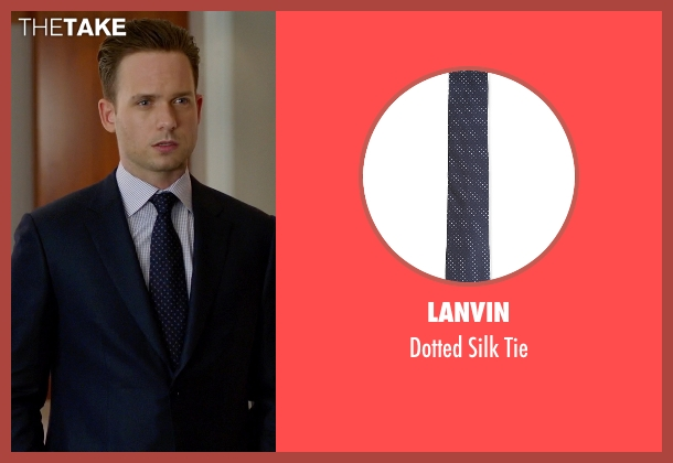 Lanvin black tie from Suits seen with Mike Ross (Patrick J. Adams)