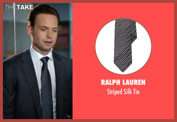 Ralph Lauren black tie from Suits seen with Mike Ross (Patrick J. Adams)