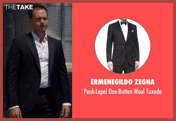 Ermenegildo Zegna black tuxedo from Suits seen with Mike Ross (Patrick J. Adams)