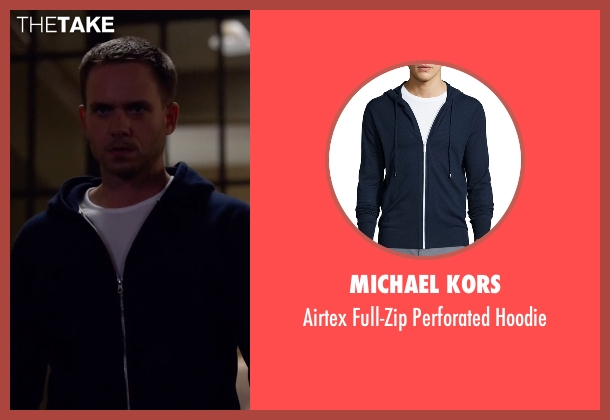 Michael Kors blue hoodie from Suits seen with Mike Ross (Patrick J. Adams)