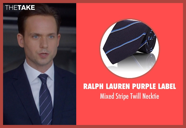 Ralph Lauren Purple Label blue necktie from Suits seen with Mike Ross (Patrick J. Adams)