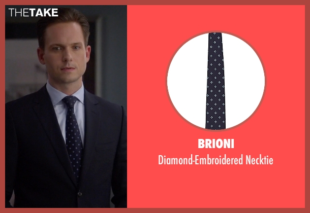 Brioni blue necktie from Suits seen with Mike Ross (Patrick J. Adams)