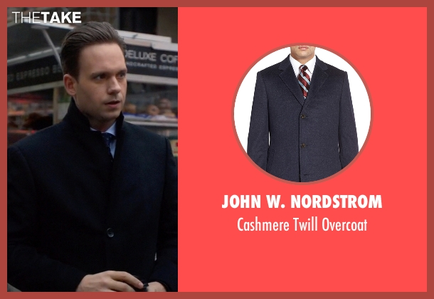 John W. Nordstrom blue overcoat from Suits seen with Mike Ross (Patrick J. Adams)