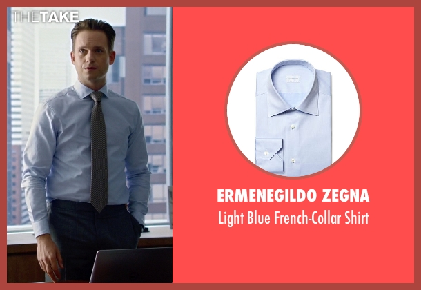Ermenegildo Zegna blue shirt from Suits seen with Mike Ross (Patrick J. Adams)