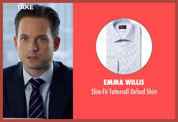 Emma Willis blue shirt from Suits seen with Mike Ross (Patrick J. Adams)