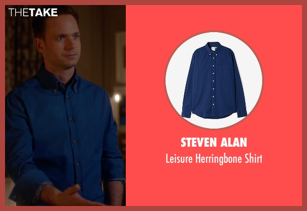 Steven Alan blue shirt from Suits seen with Mike Ross (Patrick J. Adams)