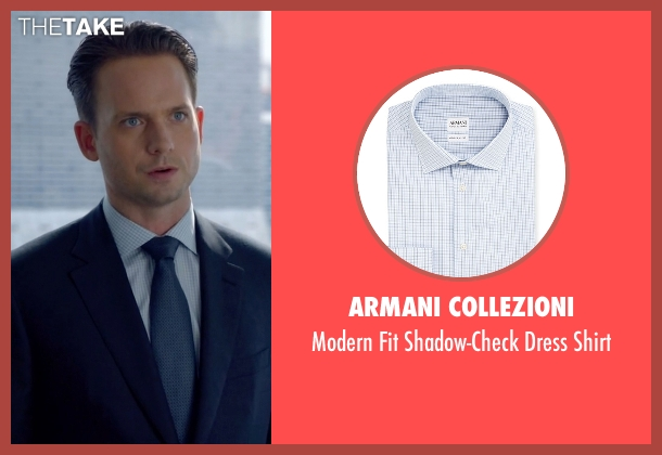 Armani Collezioni	 blue shirt from Suits seen with Mike Ross (Patrick J. Adams)