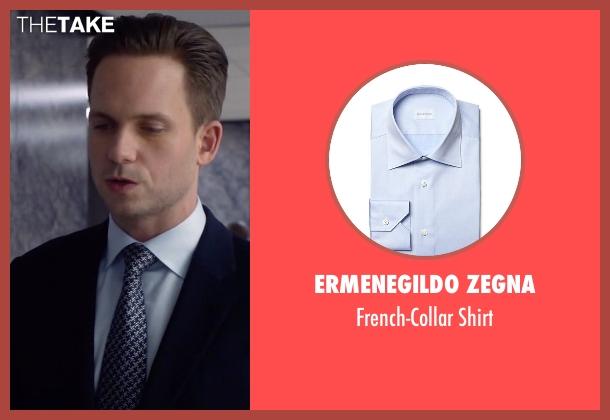 Ermenegildo Zegna blue shirt from Suits seen with Mike Ross (Patrick J. Adams)