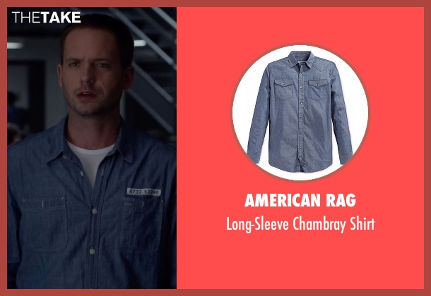 American Rag blue shirt from Suits seen with Mike Ross (Patrick J. Adams)