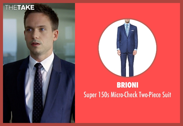 Brioni	 blue suit from Suits seen with Mike Ross (Patrick J. Adams)