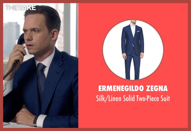 Ermenegildo Zegna blue suit from Suits seen with Mike Ross (Patrick J. Adams)