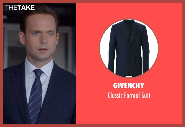 Givenchy blue suit from Suits seen with Mike Ross (Patrick J. Adams)