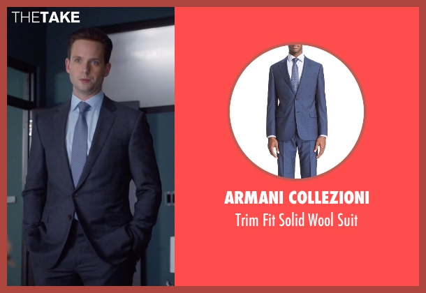 Armani Collezioni blue suit from Suits seen with Mike Ross (Patrick J. Adams)