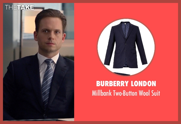 Burberry London blue suit from Suits seen with Mike Ross (Patrick J. Adams)