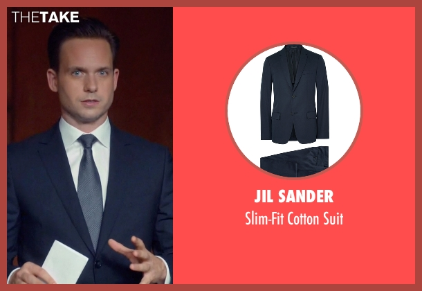 Jil Sander blue suit from Suits seen with Mike Ross (Patrick J. Adams)